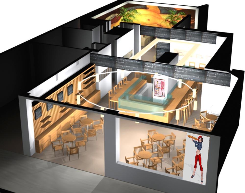 Architekt Gutmann - Konzept - Cafe de France - Einblick - 3D