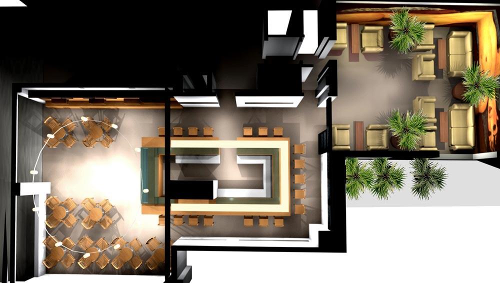 Architekt Gutmann - Konzept - Cafe de France - Blick von oben - 3D