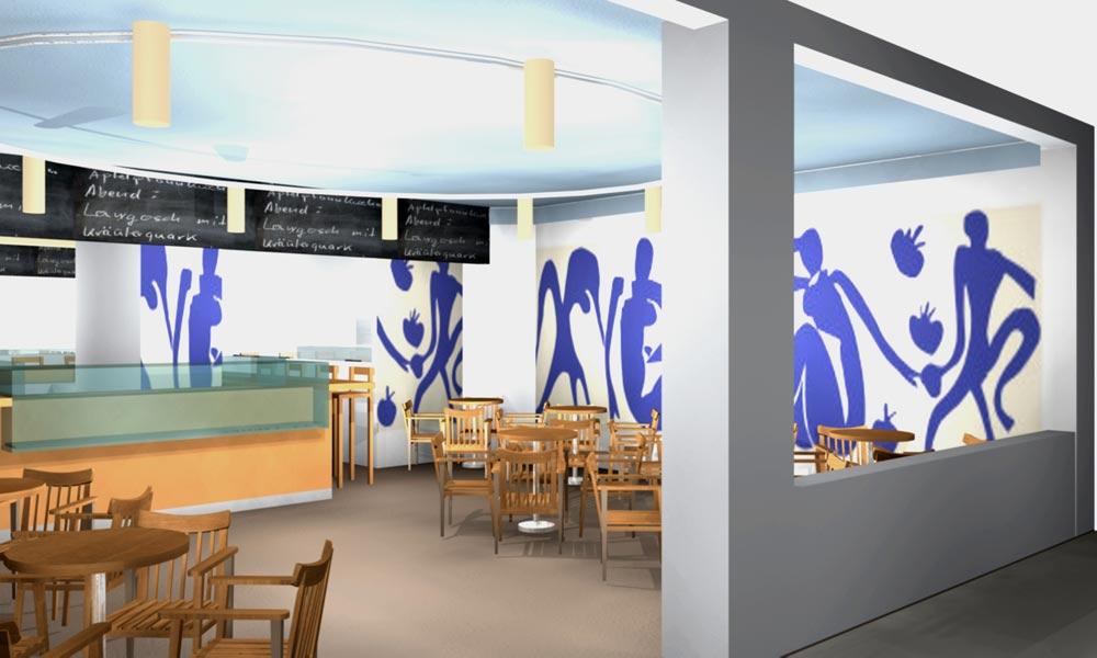 Architekt Gutmann - Konzept - Cafe de France - Einblick - 3D - Wandgemälde Matisse